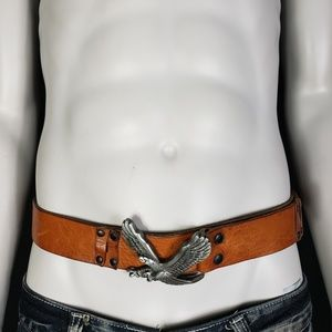 Mens Genuine Leather Tan Eagle Buckle Belt